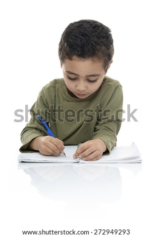Cute Young Schoolboy Doing Homework Isolated on White Background - stock photo
