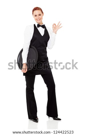 cute young waitress giving ok hand sign isolated on white - stock photo