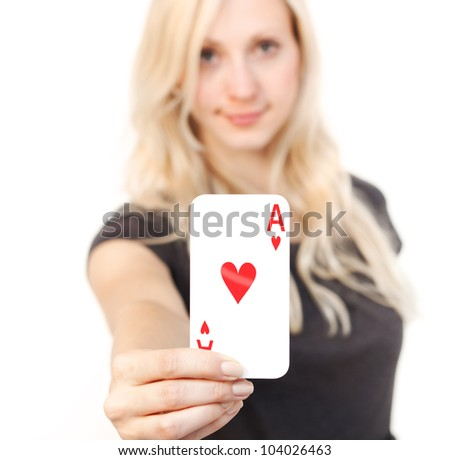 Cute young woman holding the like card - stock photo