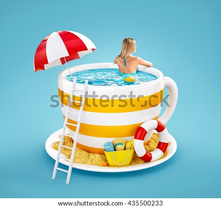 Cute young woman swims in the pool in shape of coffee mug. Unusual 3D illustration of  summer beach resort theme. Travel and vacation concept. Summer creative illustration. - stock photo