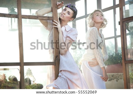 Cute young women posing - stock photo