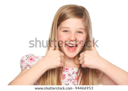 cute youth girl with thumbs up - stock photo