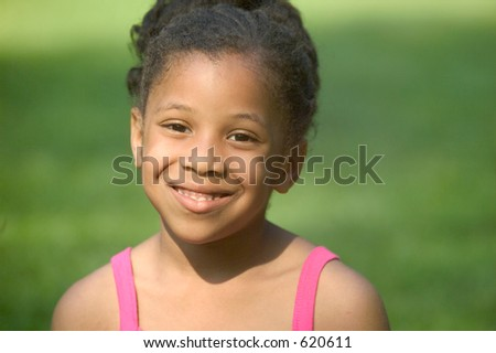 Cutie in a pink dress - stock photo