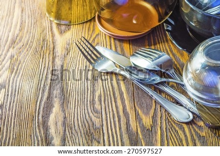 Cutlery and crockery for the table, the topic of cooking - stock photo