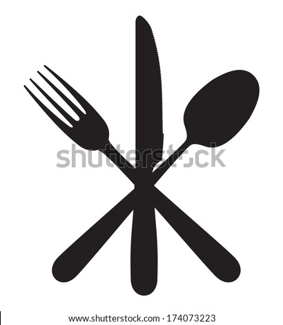 Cutlery - knife, fork and spoon - stock photo