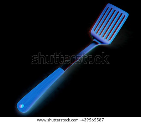 Cutlery on a black background. 3D illustration. Anaglyph. View with red/cyan glasses to see in 3D. - stock photo
