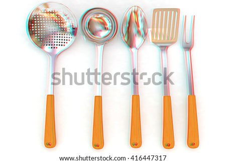 Cutlery on a white background . 3D illustration. Anaglyph. View with red/cyan glasses to see in 3D. - stock photo
