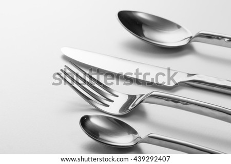 Cutlery set with Fork, Knife and Spoon - stock photo