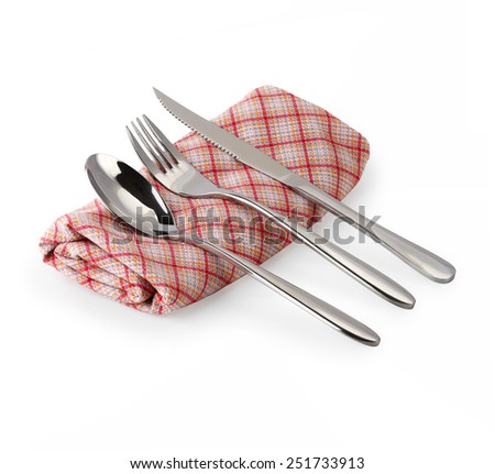 Cutlery set with Fork, Knife and Spoon isolated on white background. This has clipping path. - stock photo