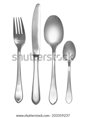 Cutlery set with Fork, Knife and Spoon on white background - stock photo