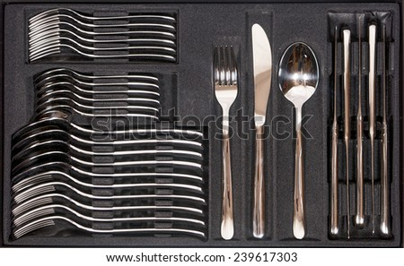 Cutlery Tray with new cutlery of stainless steel - stock photo