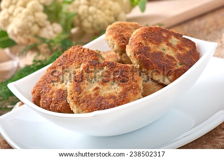 Cutlets cauliflower with dill and garlic - stock photo