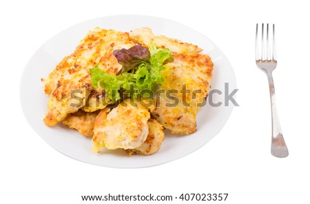 Cutlets with chicken in a plate on a white background - stock photo