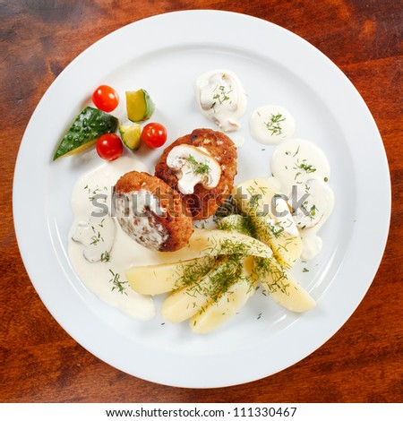 cutlets with fresh vegetables - stock photo