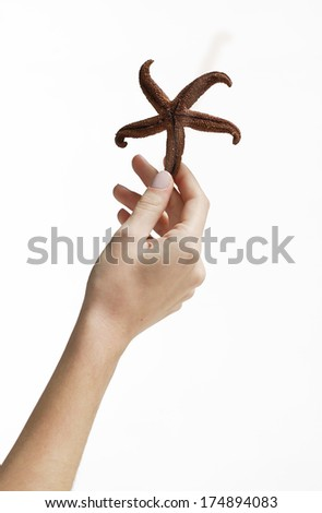 cutout hand holding starfish - stock photo