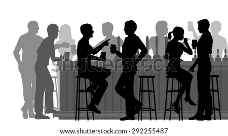 Cutout illustration of people drinking in a busy bar  - stock photo