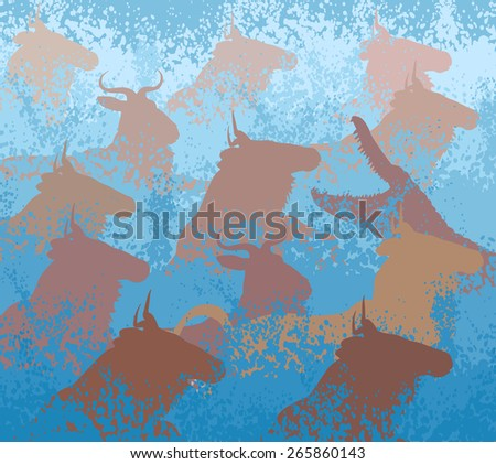 Cutout illustration of wildebeest on migration crossing a large river with a crocodile - stock photo