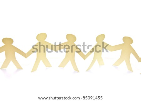 Cutout  paper people over white background - stock photo