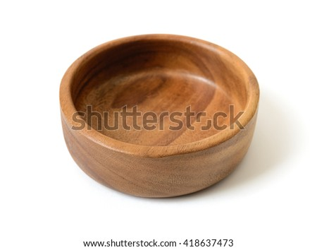 Cutout wooden bowl. Wooden Tableware.   - stock photo