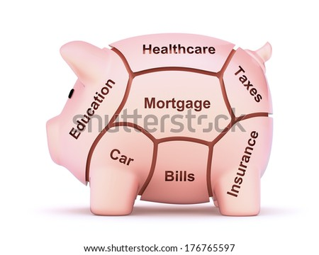 Cuts of savings - 3D concept with piggy bank - stock photo
