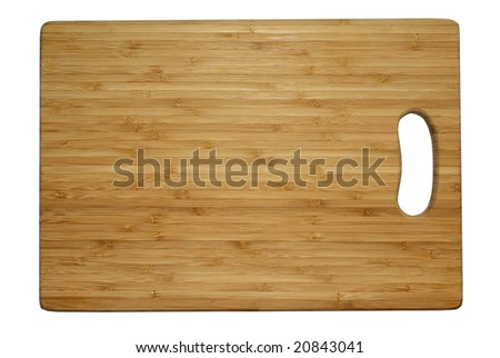 Cutting board isolated white background clipping path utensil tool table kitchen cut wood wooden cooking texture chop surface slice brown bamboo plank prepare hardwood food ware restaurant household  - stock photo