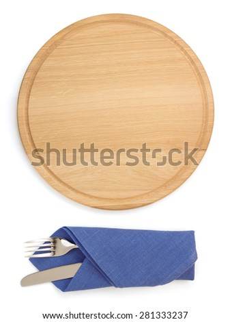 cutting board with fork and knife isolated on white background - stock photo
