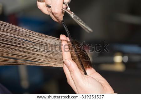 cutting hair in a beauty salon - stock photo