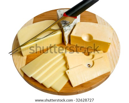 Cutting of three grades of fresh cheese - stock photo