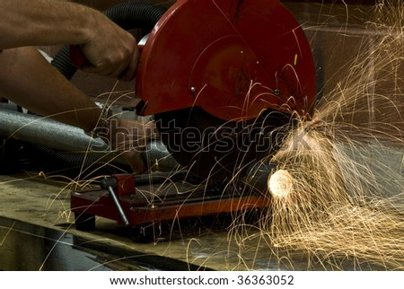 cutting sparks - stock photo