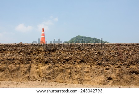 cutting surface of asphalt road inner structure - stock photo