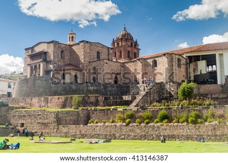 CUZCO, PERU - MAY 23, 2015: Qorikancha ruins and convent Santo Domingo in Cuzco, Peru. - stock photo