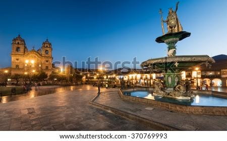 CUZCO, PERU: the main square of Cuzco city. - stock photo