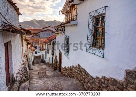 CUZCO PERU: View of San Blas town streets. - stock photo