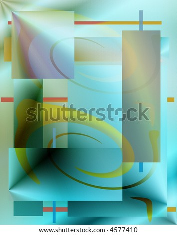 cyan and yellows in a geometric form and structure - stock photo