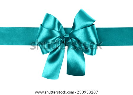 cyan bow photo made from silk - stock photo