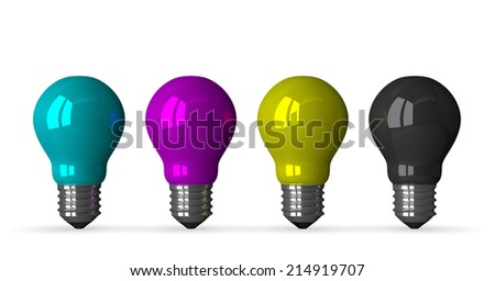 Cyan, magenta, yellow and black tungsten light bulbs, front view, 3d render isolated on white - stock photo