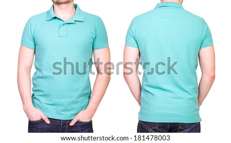 Cyan polo shirt on a young man template on white background - stock photo