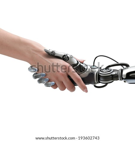 Cyber communication design concept. Female robot and human holding hands with handshake. - stock photo