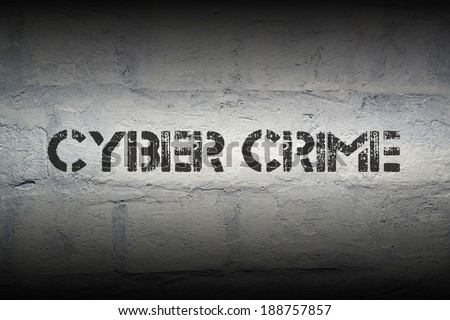 cyber crime black stencil print on the grunge brick wall with gradient effect - stock photo