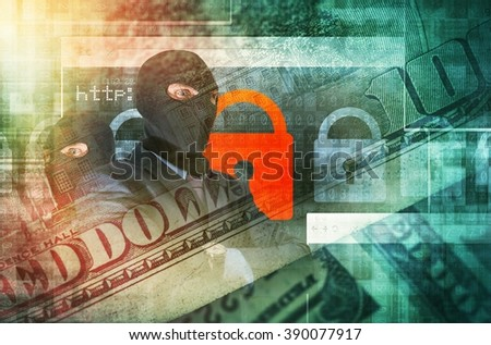 Cyber Crime Concept Illustration. Professional Hackers in Black Masks Blended with Financial Related Images. Online Financial Safety Concept - stock photo