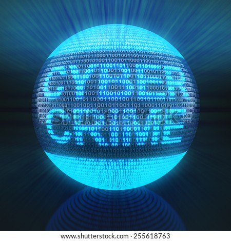 Cyber crime word on globe formed by binary code, 3d render - stock photo