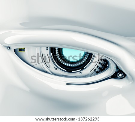 Cyber eye closeup with signs / Robotic eye - stock photo