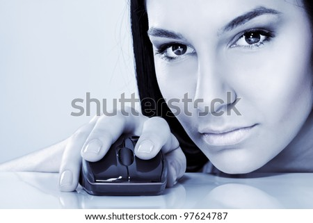 cyber girl with computer mouse - stock photo