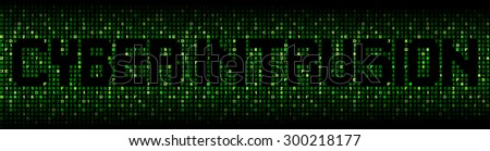 Cyber Intrusion text on hex code illustration - stock photo
