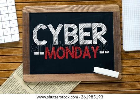 Cyber monday handwritten on blackboard - stock photo