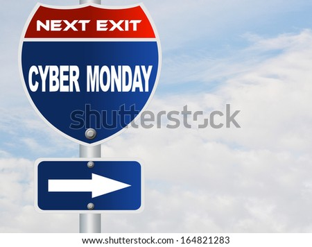 Cyber Monday road sign - stock photo