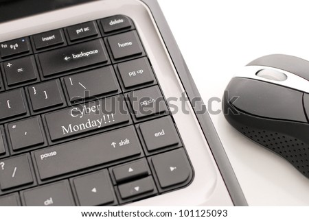 Cyber Monday shopping Button on Computer - stock photo