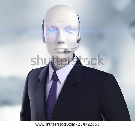 Cyber operator. Robot with headphones - stock photo