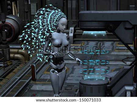 cyber robot in sci-fi interior - stock photo