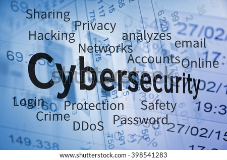 Cyber Security concept. Cloud containing words related to Cyber Security. - stock photo